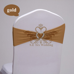 Wholesale Gold Chair Band Wholesale - Gold Color Heart Shape Buckle Lycra Chair Band \ Chair Sash