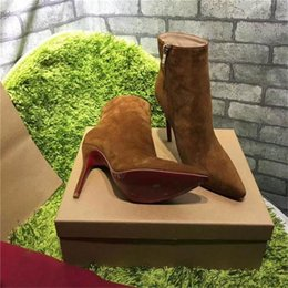 Wholesale Zipper Winter Boots For Women - 2017 Paris Hot Sale Women Winter Boots Short Boots Suede Zipper High-heeled Rivet brown Luxurious Brand Boots Shoes For Party
