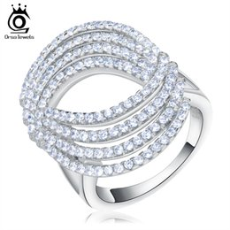 Wholesale Big Eye Ring - ORSA Big Finger Ring With 148 Pieces AAA Zircon Oval Eye Shape Lady's Rings Silver color Party Jewelry Wedding Rings OR89