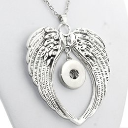 Wholesale Boom Metal - Wholesale- Boom Life 3535 metal snap button jewelry boho wings pendant Necklace for women NE195 (fit 18mm snaps) men's Vintage accessories
