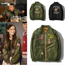 Wholesale L Style Flights - men thin Jacket Puffer Style Thick Army Green Military Flying Tiger cloth Ma-1 Flight Jacket Pilot Ma1 Air Force Men Bomber Jacket N87