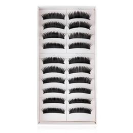 Wholesale Top Individual Lashes - Top False Eyelashes Fasion Beauty 10 Pairs of Natural Long Black Stems Thick False Eyelashes Makeup Cosmetics +B