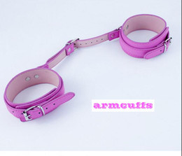 Wholesale Collar Wrist Chained - PINK Bondage set for foreplay sex games handcuffs anklet arm cuff collar with nipple clamps SM leather bondage with chain