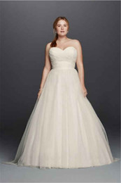 Wholesale Strapless Sweetheart Sexy Wedding Dresses - Plus Size Strapless Sweetheart Tulle Wedding Dress 9WG3802 Removable Crystals Sash Beautifully Pleated Bodice Bridal Gown vestido de novia