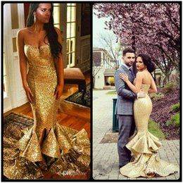 Wholesale Gown Mermaid Bottom - Vestidos de Noiva Gold Sequined Mermaid Evening Dresses Sweetheart Spaghetti Strap Ruffles Tiered Bottom Long Prom Gowns