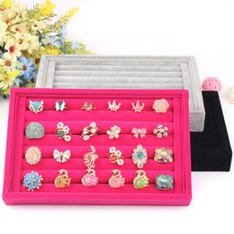 Wholesale Stud Display Holder - 22.5*14.5*3cm velvet ring plate stud earring storage box jewelry organizer accessories plaid display rack ring holder display tray