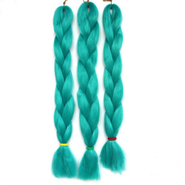 "Wholesale High Temperature Fiber Hair Extensions - Wholesale-5pcs lot! Braiding Hair cyan single color High Temperature Fiber braiding hair 24"" 100g pcs synthetic braiding hair Extensions"