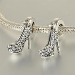 tacón alto de plata Rebajas 5 unids / lote encantos de tacón de aguja de plata de ley 925 encaja pulseras de estilo pandora 791536CZ H9
