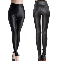 Wholesale Leather Leggings Size - Wholesale-Fashion Black Womens Leggings Stretch Leather Sexy High Waist Pants XS S M L XL XXL XXXL 7 Size 1 pair Retail