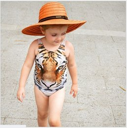 Wholesale Suit One Piece Kid Swimming - 2016 New Summer Girls One-Pieces Tiger Printed Swimsuit Kids Swimwear Baby Girl Bathing Suits Children Swim Clothing For 80-110cm Retail