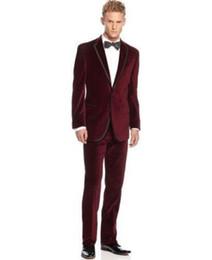 Wholesale Business Suit Designer - Custom Made Groom Tuxedos Business suit Designer Wedding Groom Tuxedos Dinner Velvet Suit Coat Blazer Trouser (Jacket+Pants)