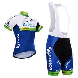 Wholesale Greenedge Jersey - 2015 Newest Orica greenedge cycling jersey white green color short sleeves bib none bib pants bike wear size XS-4XL breathable padded cloth