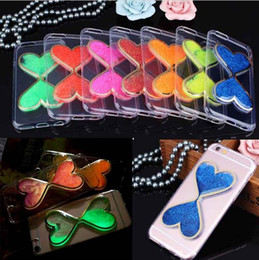 Wholesale Hourglass Liquid - 2016 NEW Transparent Love Heart Dynamic Liquid Hourglasses Sand Quicksand Case For iPhone 6 6S Plus 5S Glitter Clear TPU Soft Back Cover