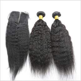 Wholesale 2pcs bundles closure - brazilian hair with closure 3pcs lot 2pcs kinky straight coarse yaki human hair bundles with middle part italian yaki lace closure