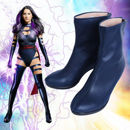 Wholesale X Men Women Costume - New X-men Apocalypse Psylocke Cosplay Shoes Boots Cosplay Costume Accessories PU Dark Blue Customize For Women High-heeled Shoes