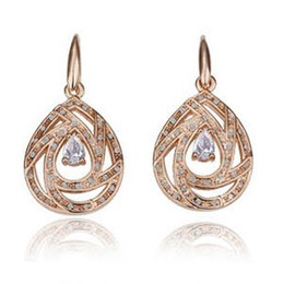Wholesale Earring Yiwu - Exclusive new Yiwu necklace jewelry wholesale hollow out Little drops of water zircon crystal earrings - G093