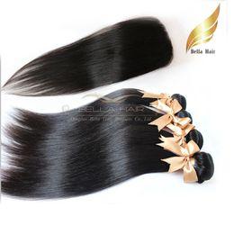 "Wholesale Human Hair Full Head Closures - Peruvian Human Hair wefts with Closure Hair Extensions Full Head 4+1pcs Silky Straight Weaves Natural Color Bellahair 7A 8""-30"""
