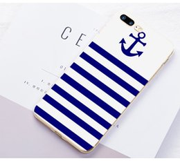 Wholesale Anchor Iphone 5c Cases - Wholesalercase Blue Stripes Boat Anchor Printing Design Clear Soft TPU Phone case For Iphone 4 5 5C 6 6plus 7 7plus