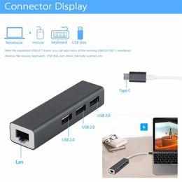 Lan cable usb port en Ligne-Adaptateur réseau haut débit avec concentrateur USB 3 ports Adaptateur réseau local multifonction type C Adaptateur USB Mirco