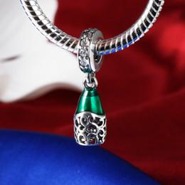 Wholesale Enamel Pendant Round - Hot Sale 925 Sterling Silver Charms Green Enamel CZ Pendant European Charm Beads Fit Snake Chain Bracelet DIY Original Jewelry Making