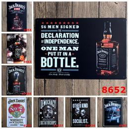 Bottiglie di dipinti online-Jack Danie's bottiglia vino whisky classico Coffee Shop Bar Ristorante Decorazione arte della parete Bar metallo Dipinto 20x30cm targa in metallo 10 pz / lotto