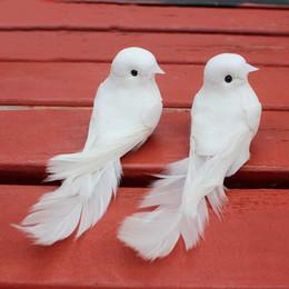 Wholesale Wedding Birds Feather - 10Pcs 12*5*5Cm Decorative Doves Artificial Foam Feather Mini White Birds With Magnet Craft Birds Home Decor Wedding Decorations