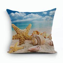 Wholesale Cushion Starfish - sunshine beach home decor sea shell cushion cover starfish funda cojines marine almofada sofa throw pillow case