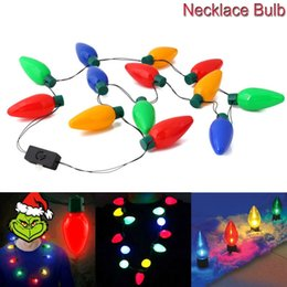 Wholesale Kids Animal Necklaces - Christmas Necklace LED Light Up Bulb Party Favors For Adults Or Kids As A New Year Gift