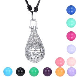 Wholesale Hollow Rope Chain - Mexican Bola Angel Caller Chime Ball Pendant Necklace Women Pregnancy Baby Teardrop Hollow Cage Bell Jewelry Fit 16mm Chime Ball