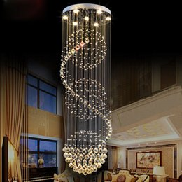 Wholesale Modern Long Chandeliers - Modern Fashion K9 Crystal LED Chandelier Villa Lobby Lounge Dining Room Lamp Double Staircase Long K9 Crystal Chandelier Light