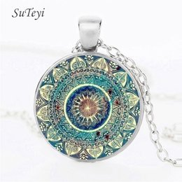 Wholesale Plant Tattoos - Vintage Mandala Flower Necklace Art Glass Dome Yoga Pendant Necklace Henna Tattoo Blue Mandala Buddhism Necklaces Jewerly