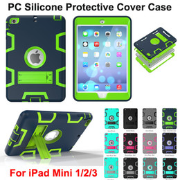 Wholesale Ipad Cases Free - FREE DHL Shockproof Protector Cases 3 in 1 Robot Defender Robot Hybrid PC+Silicon Kickstand Stand Back Cover Case For iPad Mini 2 mini3