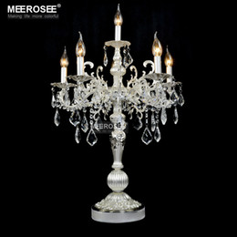 chiaro candelabri matrimonio Sconti Splendida lampada da tavolo vintage color argento Lussuosa lampada da scrivania in cristallo trasparente con candelabri per matrimonio per illuminazione della camera da letto del ristorante dell'hotel