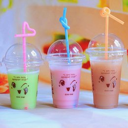 Wholesale Disposable Plastic Tea Cups - Disposable Plastic Cups Clear Transparent Water Drink Cups with Smile Face Printing Bulk Wholesale Event Party Supplies Milk Tea Jelly Cups