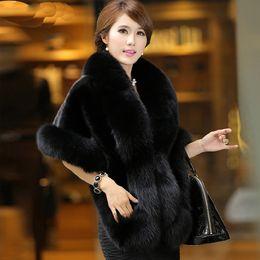 Wholesale Wedding Faux Furs - New Mink Fur Coat Bride Wedding Shawl Cloak Imitation Fox Fur Lady Waistcoat Winter , 4 Colors