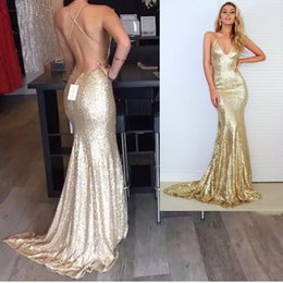 Wholesale Evening Dress Long Glitter - Real Picture Champagne Gold Mermaid Prom Dresses 2016 Sparkly Long Glitter Evening Dresses Open Back Sexy Sequin Dress Backless