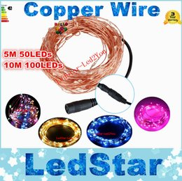 Wholesale Promotion Purple Led - Best Promotion 5M 50LED 10M 100 LED Waterproof IP65 Copper Wire String Fairy Light Christmas Wedding Party Decor DC 12V