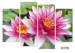 Wholesale Lotus Painting Wall Panels - 4 Panel Wall Art Pictures Botanical Red Feng Shui pink lotus Oil Painting On Canvas The Picture For Living Room Decoration h 095