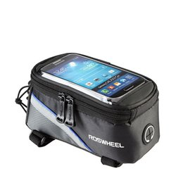 "Wholesale Bicycle Phone Waterproof - Roswheel 4.2"" 4.8"" 5.5"" Inch Waterproof Black Cycling Bike Bicycle Front Phone Bag Case Holder Zip Pouch for iPhone Mobile Cell phone"