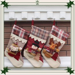 Wholesale cloth bags - 2016 newest Christmas stocking mix burlap cotton Christmas gift bag stocking 3 styles Christmas tree decoration socks