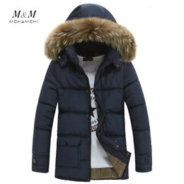 Wholesale Korean Men Fur Coat - Fall-New Korean Style Fashion Men Winter Fur Hooded Collar Male Jacket Medium-long Thicken Cotton-padded Coat Mens Clothing Outerwear