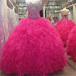 Wholesale Quinceanera Dresses Hunter Green - Stunning Sweetheart Organza Beadings Quinceanera Dress 2017 Ball Gown Puffy Prom Dress sexy 16 dress formal dresses real image