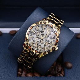 Wholesale Lady Girl Leopard - 2017 New brand watch A pcs lot Fashion luxury women wristwatch leopard steel female Quartz Girl lady Clock free shipping Big face wristwatc
