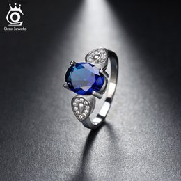 Wholesale Ring Blue Dark - ORSA JEWELS Luxury Women Rings With 2.5ct Dark Blue Cubic Zircon For Female Fashion Finger Jewelry Accessories OR133