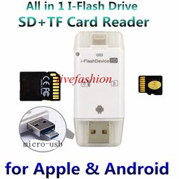 Wholesale Iphone Usb Reader - 3 in 1 iFlash Drive HD USB 3.0 Micro SD SDHC TF OTG Card Reader for iPhone 5s 6 6s plus ipad ios Device for All Android Cellphone