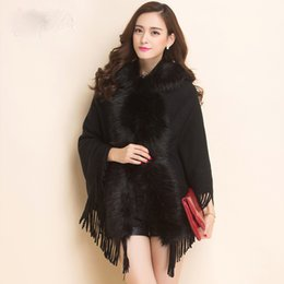 Wholesale Red Cape Hood - Womens Capes And ponchoes 2016 Fall Winter Knitted Cardigan Sweater Women Faux Fur Hood Cardigans With Tassel