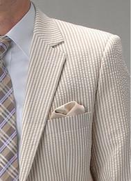 2019 marrone bowtie 2018 ultimo disegno bianco e marrone strisce smoking seersucker per gli uomini / usura dello sposo / abiti da sposa per uomo (giacca + pantaloni + Bowtie) marrone bowtie economici