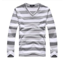 Wholesale Purple Stripe Sweater - Wholesale- EAS New arrival 2016 men's long-sleeved cotton stripes sweater fashion and hot pullover men brand new