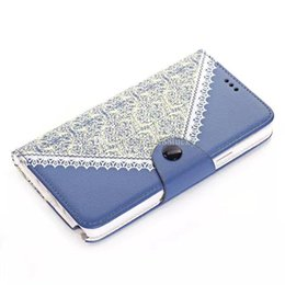 Wholesale Shell Pouch Holster - Leather Wallet Flower Lace TPU Hybrid Pouch Button Case For iphone6 6plus Credit Card Stand Holder Skin Holster Shell for note4