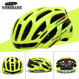 Wholesale Eps Helmet - Wholesale-Queshark Cycling Helmet Road Mountain In-mold Bicycle Helmet Ultralight Bike Helmet With LED Warning Lights